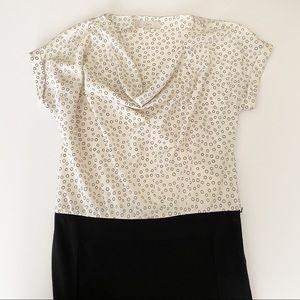 Loft draped neck dress mini black cream